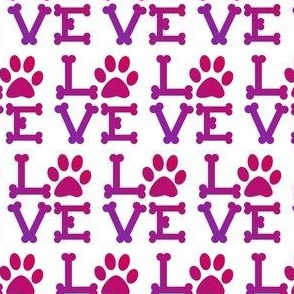 Love paw print in pinks and purples - animal lover, dog lover, cat lover