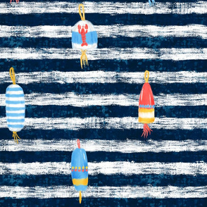 Tricolor Buoys on navy stripes V1 (24in)