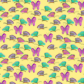 Bright butterflies on yellow