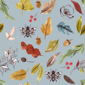 Natural Leaves // Tower Gray Blue