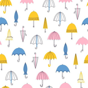 Spring umbrellas seamless pattern