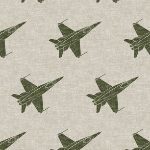 fighter jets - green on beige - military - LAD19