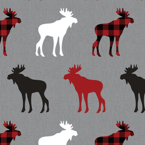 marching buffalo plaid moose