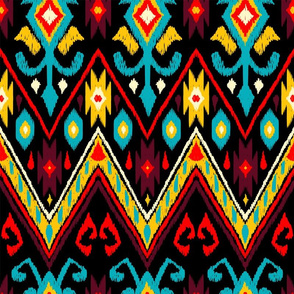 Native American Embroidered Diamond Rich Colors on Black