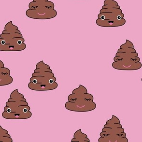 Adorable kawaii poop quirky dog poo emoji print pink girls