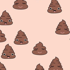 Adorable kawaii poop quirky dog poo emoji print pale nude beige