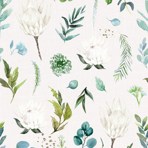 Protea and Eucalyptus // Linen