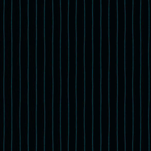 Squiggle Stripes on Midnight Teal  (1in)