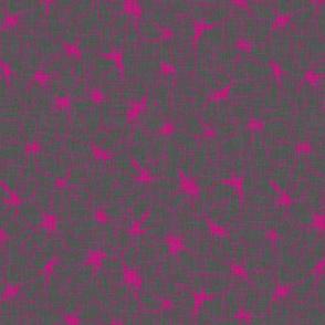 Abstact Floral - Fuchsia on Grey Linen