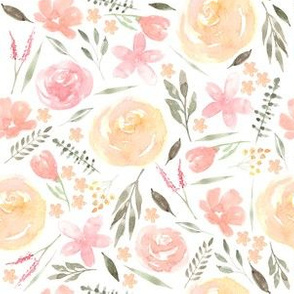 Soft pinks and coral floral watercolor
