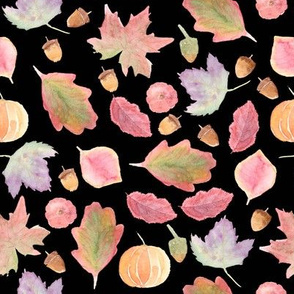 Watercolor Fall Leaves black background