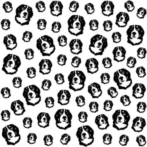 Bernese Mountain Dog black white fabrics