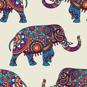 Colorful Boho Marching Elephants