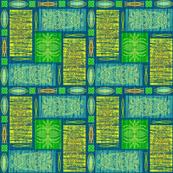 Mid Century Tiki pinstripe yellow green blue