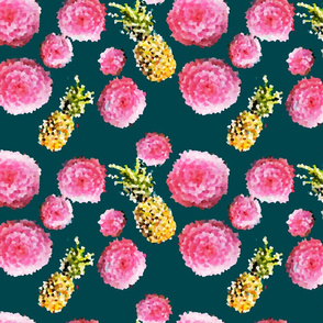 Pixelated Flowers and Pineapples