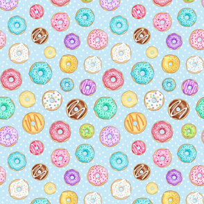 Rainbow Scattered Donuts on spotty pale blue