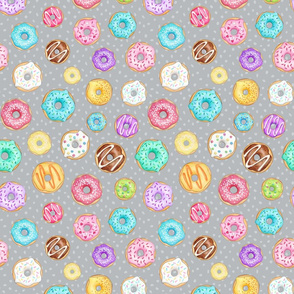Rainbow Scattered Donuts on spotty light grey