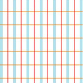 Minimalist blue and red grid lines