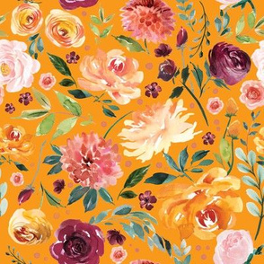 paprika orange watercolor floral