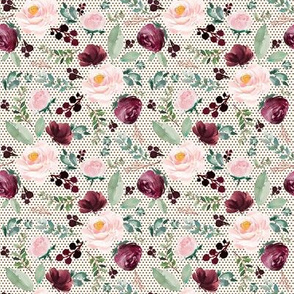 """8"""" Wild at Heart Florals Ivory and Crimson Polka Dots"""
