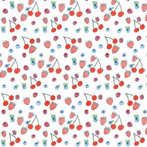 cherries and berries on white