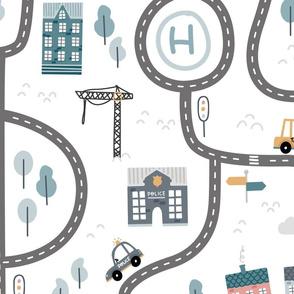 City roads - scandinavian playmat streets - big