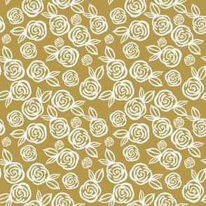 """8"""" White Roses Gold Back"""