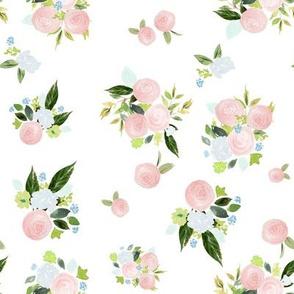 """8"""" Spring Tea Roses White"""