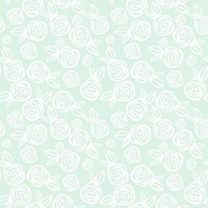 """8"""" White Roses Mint Green Back"""