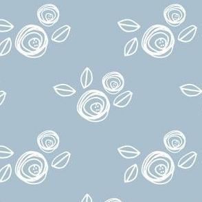 """8"""" White Roses Blue Back"""