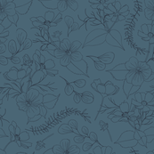 Cosmos Flowers // Outlines // blue