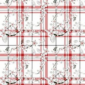 White and Red Tartan with Flowers