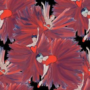 3 Red Ballerinas on Black