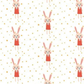 Blush Bunny in Dress and Dots