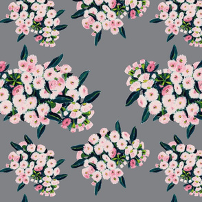 Pink Gum Blossoms - Grey Background