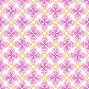 Pink Watercolor Petals Quatrefoil / White