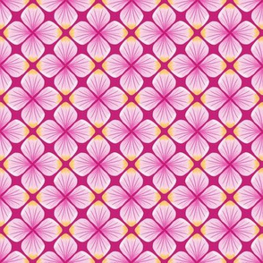 Pink Watercolor Petals Quatrefoil / Pink