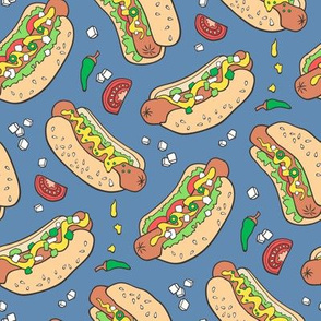 Hot Dogs Fast Food On Navy Blue