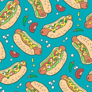 Hot Dogs Fast Food On Dark Blue
