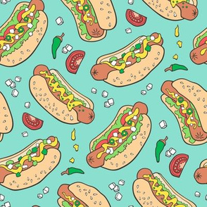 Hot Dogs Fast Food On Mint Green