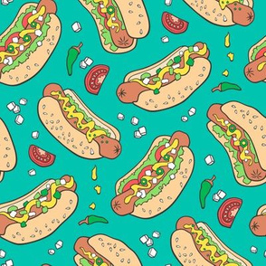 Hot Dogs Fast Food On Teal Green