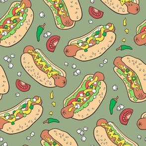 Hot Dogs Fast Food On Olive Green