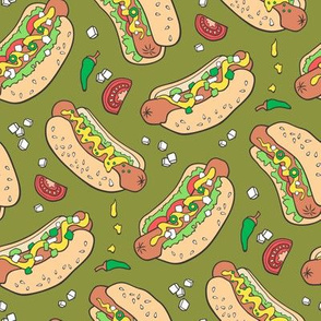 Hot Dogs Fast Food On Dark Green
