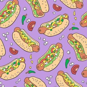 Hot Dogs Fast Food On Violet