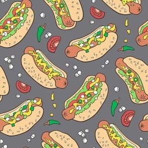 Hot Dogs Fast Food On Dark Grey