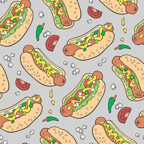 Hot Dogs Fast Food On Light Grey