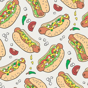 Hot Dogs Fast Food On Cloud Grey