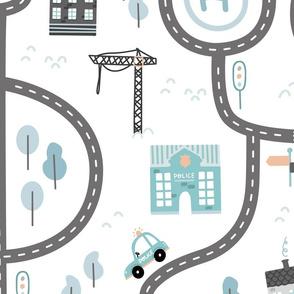 City roads - scandinavian playmat streets - blue coral