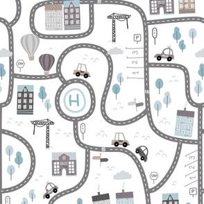City roads - scandinavian playmat streets - brown blue