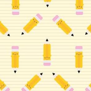 Happy Kawaii Pencils (Yellow)